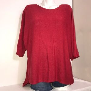 Isabella D. Ruby Red Sparkle Modal Long Sleeve Top